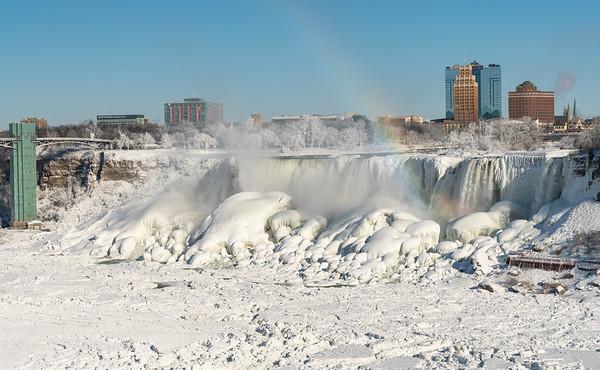 Frozen Niagara Falls With Rainbow