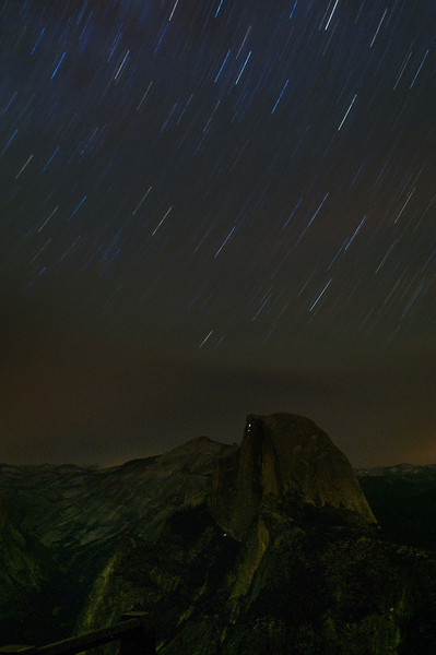 More star trails over Half Dome.  The lights you see below the top of half dome and below are from climbers lanterns.  Just another fun night in the dark from Glacier Point.