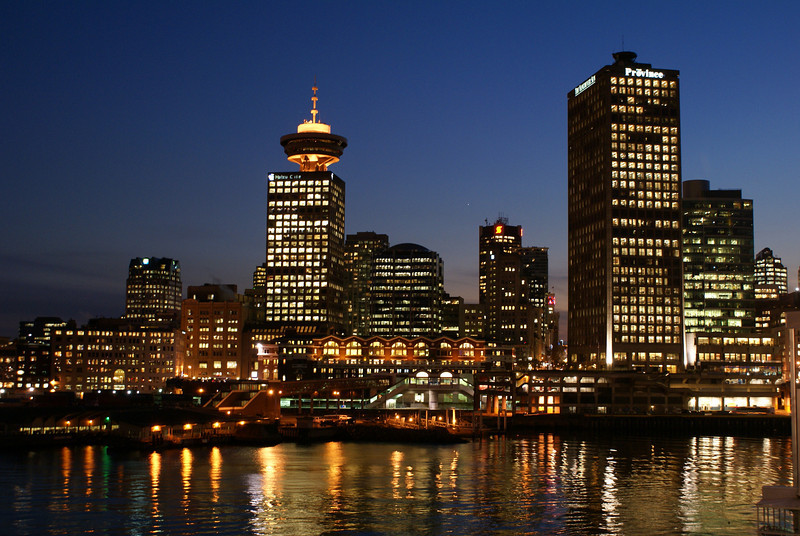 Vancouver waterfront at night.