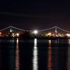 Lions Gate Bridge at night.