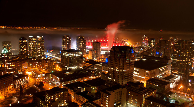 Vancouver in the fog at night.