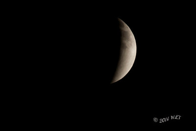 Lunar Eclipse, as earth's shadow begins to fall.....Not A Cloud To Be Seen!!!!Just a little left before the moon is completely enshadowed