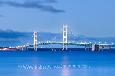 Sunrise over the Mackinac Bridge, Saint Ignace, MI.