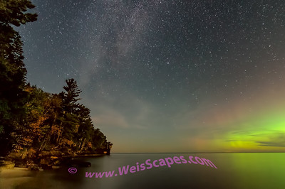 Milky Way and Northern Lights behind moon lit clouds, Beaver Basin Wilderness area of Pictured Rocks National Lakeshore.