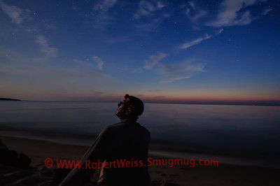Watching the stars come out in the moonlight over Lake Michigan, Sleeping Bear Dunes National Lakeshore.