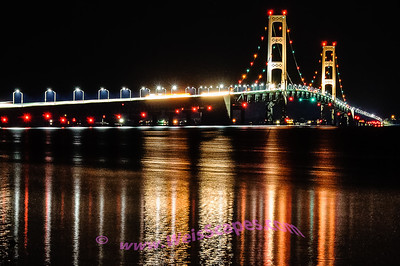 Mackinac Bridge light reflections