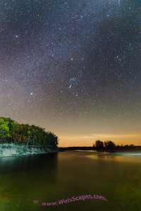 Stars over the mouth of the Pinnebog River, Port Crescent State Park.