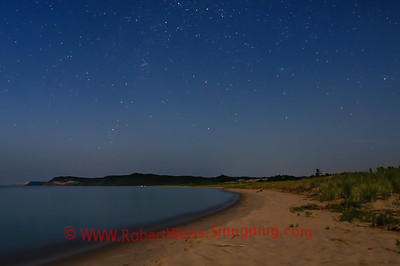 Sleeping Bear Dune, Empire Bluff and bonfires at Esch Beach under moonlight and stars.