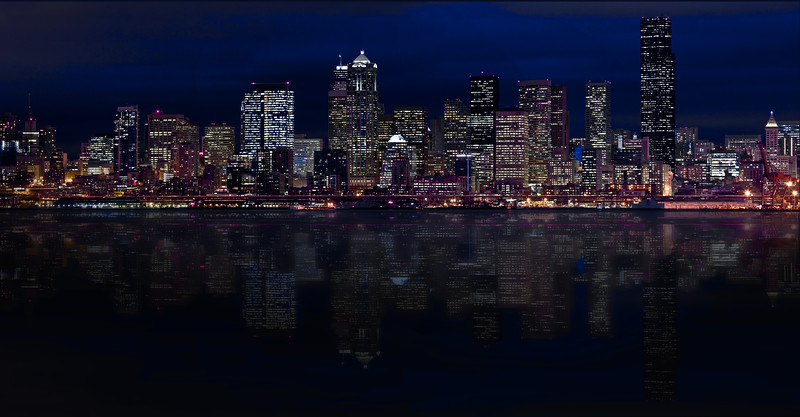 Seattle twilight skyline with reflection