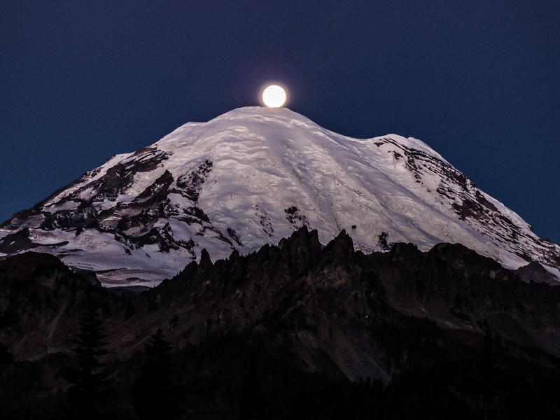 Super Harvest Blood Moon touching Mt Rainier