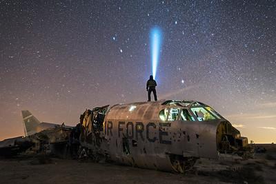 B-52 light painting under the stars