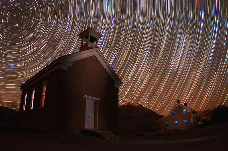Star trails above the ghost town of Grafton, Utah - a major filming location of Butch Cassidy and the Sundance Kid