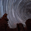 Star trails above the ghost town of Silver Reef, Utah