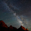 The milky way above the Watchman in Zion National Park