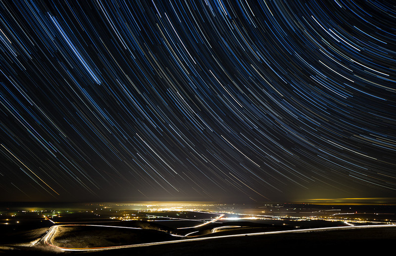 Star trails over Emigrant Hill, Oregon
