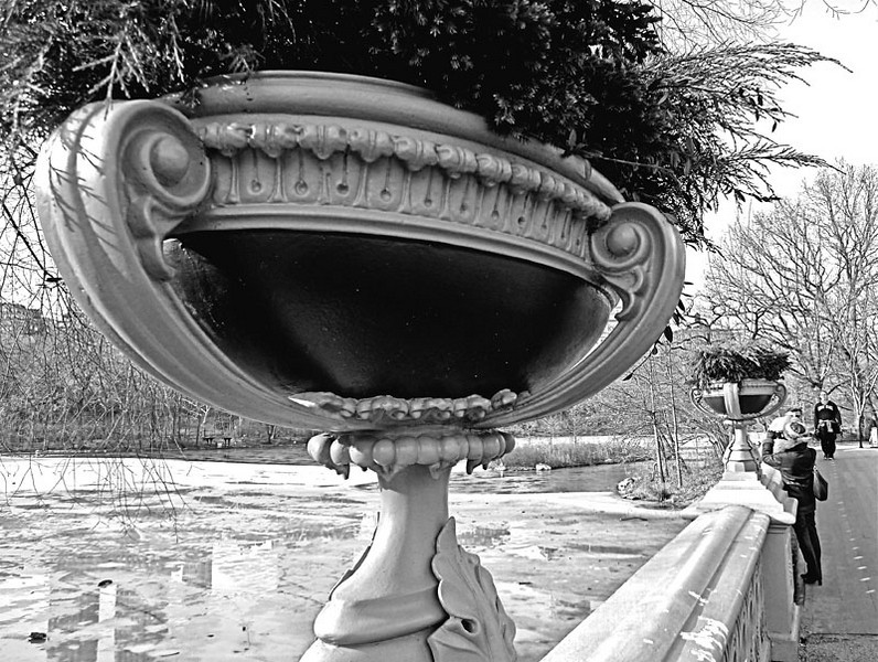 Urn on the Bow Bridge in Central Park