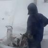 Nor'easter: Snowblowing walk through storm door