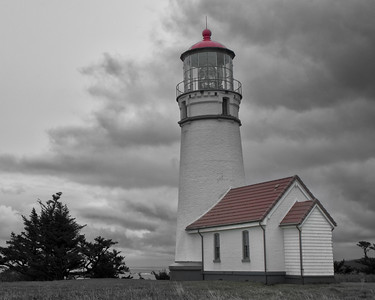Cape Blanco Lighthouse, B&W Selective Color Landscape
