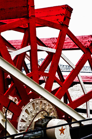 Paddle Wheel and Bridge, New Orleans