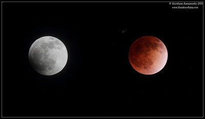 Blood Moon, full lunar eclipse on April 17 2014, Scripps Ranch, San Diego County, California