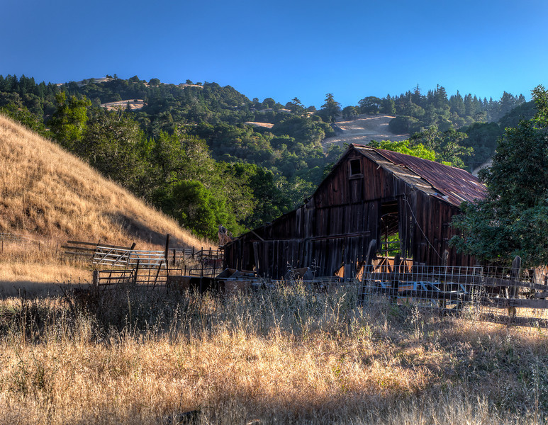 Old barn and mountains.  Early morning, on Highway 128 in Anderson Valley, California.  Panasonic Lumix DMC-GX1 on Sirui N-2204 tripod, 14-45mm lens.  7 shots, 1 EV apart, preprocessed in DxO Optics Pro, then Photomatix Pro for HDR and tonemapping, then Adobe Camera Raw for exposure adjustments, noise reduction and sharpening, final tweaks in Photoshop.  Whew!