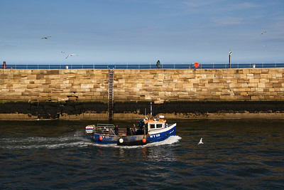 Nearly Home - a fishing boat returning to Whitby Harbour