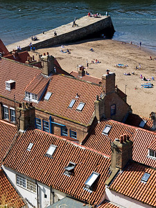 Tiled roofs and sunbathers in Whitby