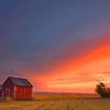 Hay fields sunset