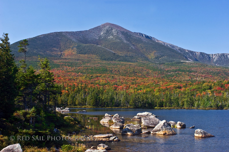 Mt. Katahdin as seen from Sandy Stream Pond in Baxter State Park, Maine. This is a great place to view moose.