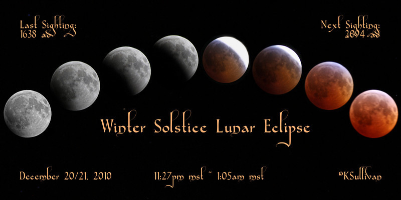 "Poster of the Lunar Eclipse on the Winter Solstice.  I took all the photos and created the print.  It is sized 10x20, and can purchased (various sizes) with no cropping necessary in the ""panoramic photos"" section.  Click ""buy"", then ""this photo"", then ""panoramic""."