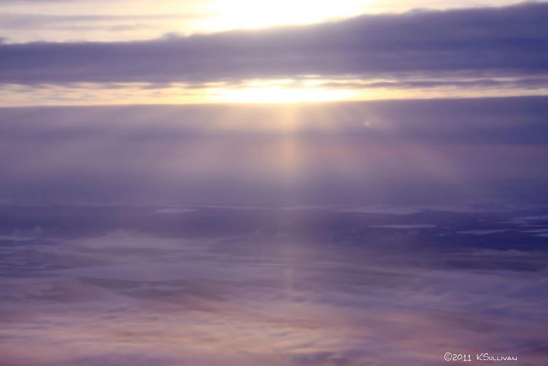 Sunrise @ 20,000 feet.  <br /> Taken during a flight from Fort St. John to Ft. Nelson on January 10, 2011.