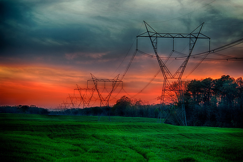 3rd Place, February Photo Contest Huntsville Photo Society, Electrical lines from Brown's Ferry Nuclear Plant, Tanner, Alabama
