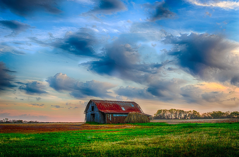 Barn near Tanner, Alabama, evening falls on fields soon to be planted.