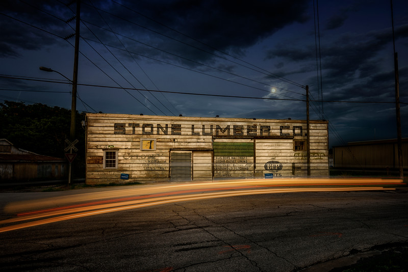 Moonrise over Stone Lumber Company