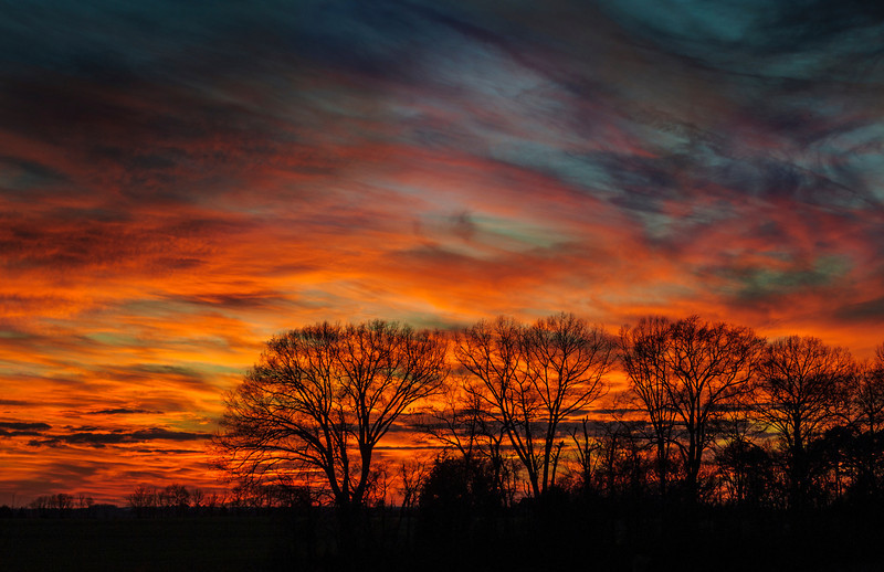 February 1, 2014 - Vibrant sunset 10 miles NW of Mooresville Alabama