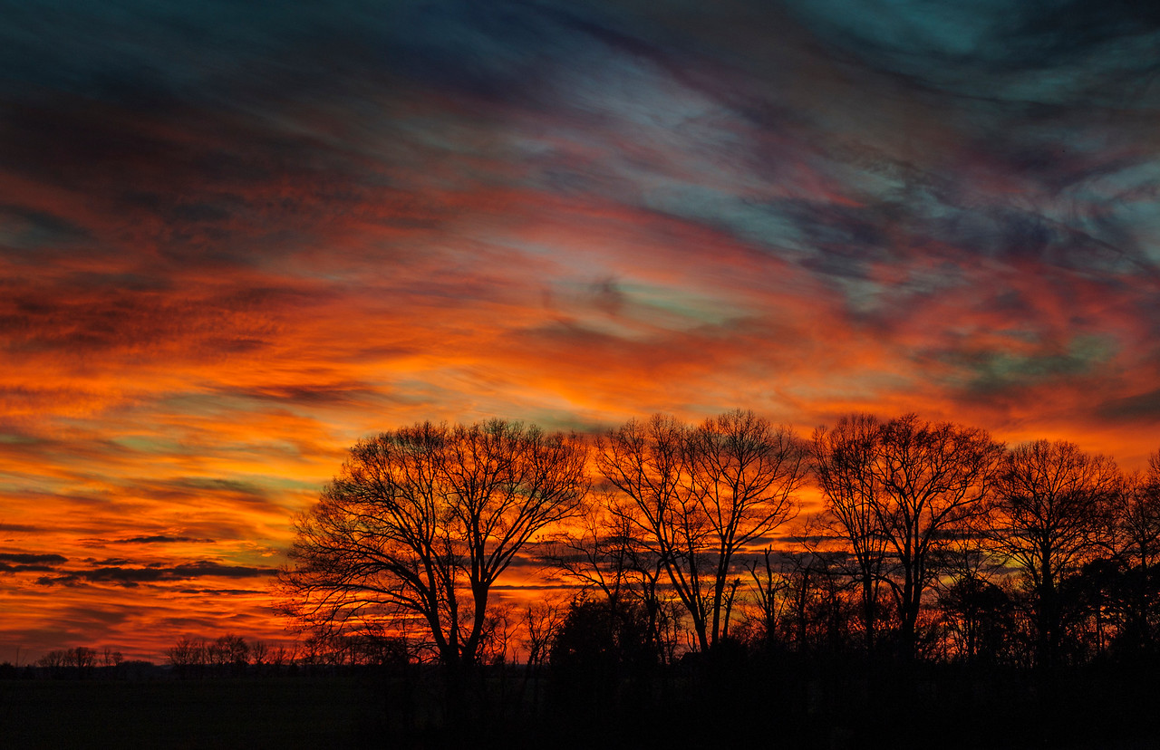 February 1, 2014 - Vibrant sunset 10 miles NW of Mooresville Alabama