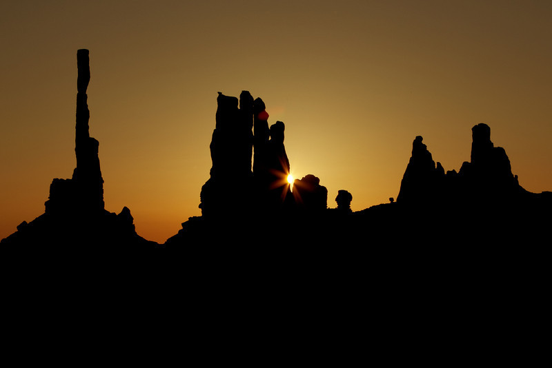 Sunrise at Totem Pole and Yei Bi Chei, Monument Valley