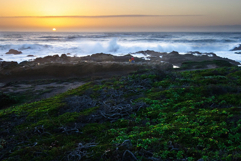 "Feb 2 - ""Winter Sunset at the Coast"" Just a nice glow in the sky with the waves crashing around. The green ground cover nicely contrasting with the sky. I captured this near Pescadero and Half Moon Bay. The waves were fairly large as you can tell by the silly people who were a little too close!"
