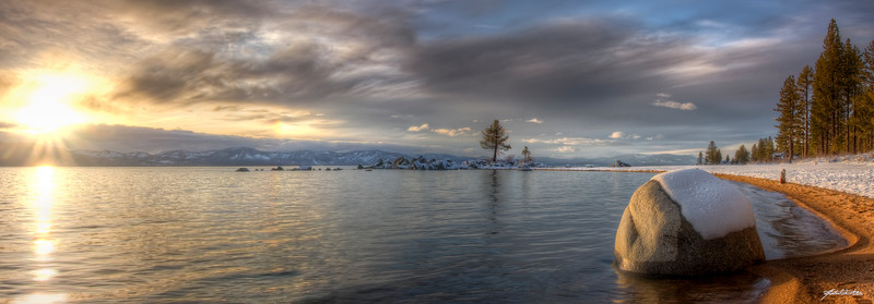 """""""Zephyr Cove""""-Panoramic Stitch from 4 HDR images of Zephyr Cove in Stateline, NV at Lake Tahoe.  Processed using Photomatix Pro and Photoshop CS4."""