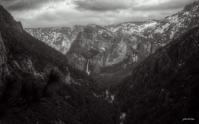 """""""Clearing Spring Storm"""" Bridalveil Falls in Yosemite National Park, inspired by Ansel Adams' Clearing Winter Storm over Bridalveil Falls."""