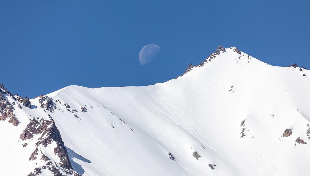 Moon over Lassen Peak, Lassen Volcanic National Park, California