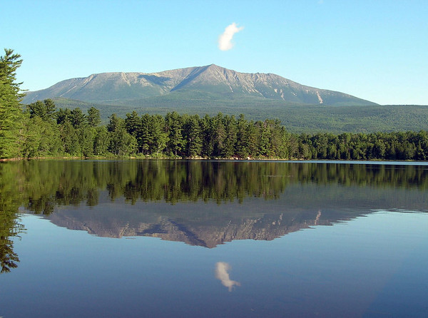 Baxter Peak, Katahdin, Maine, elevation 5,268 feet, the end of the Appalachian Trail.<br /> Viewed from the Katahdin Unit of Camp Natarswi, the Girl Scout Camp on Togue Pond, Maine