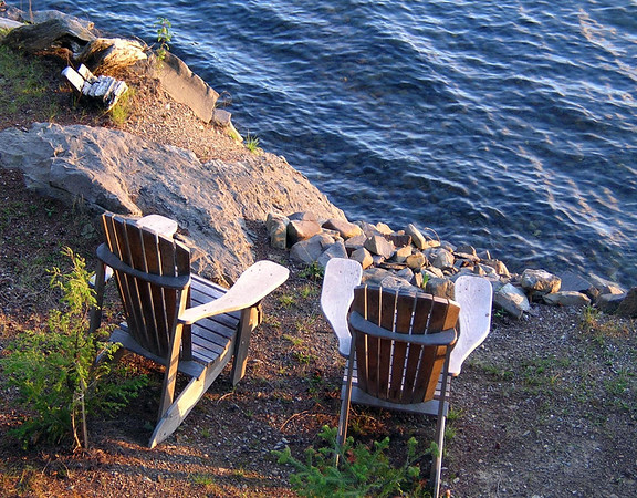 Two Chairs at Sunset<br /> Pleasant Pond, Island Falls, Maine