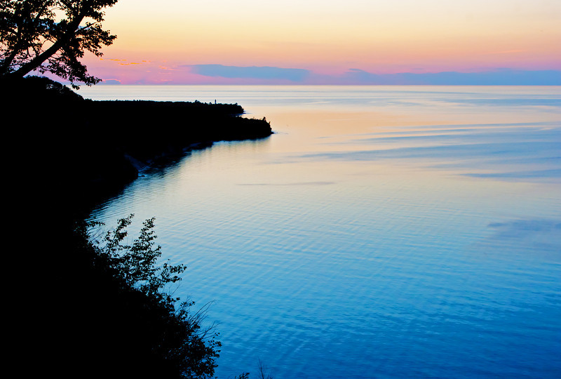 The setting sun brings the close of another beautiful day in the Pictured Rocks National Lakeshore.