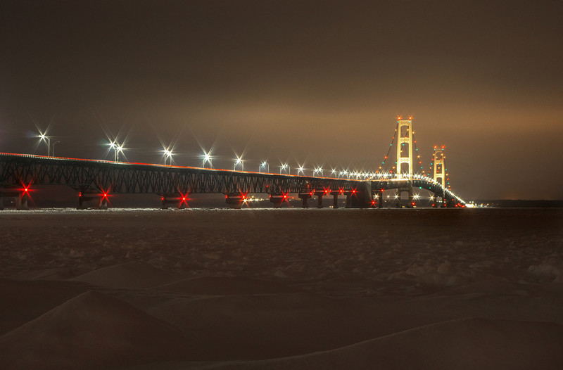 Winter Evening at the Mackinac Bridge