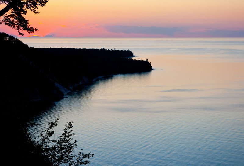 The sun sets over Au Sable Point in the Pictured Rocks National Lakeshore.