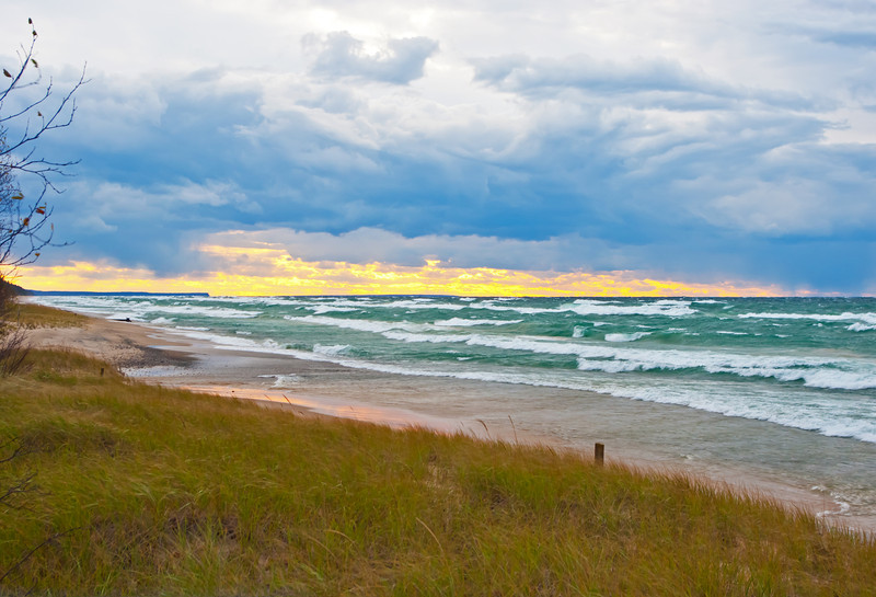 A storm approaches an area known as Sullivan's Landing, part of 12 Mile Beach in the Pictured Rocks National Lakeshore.