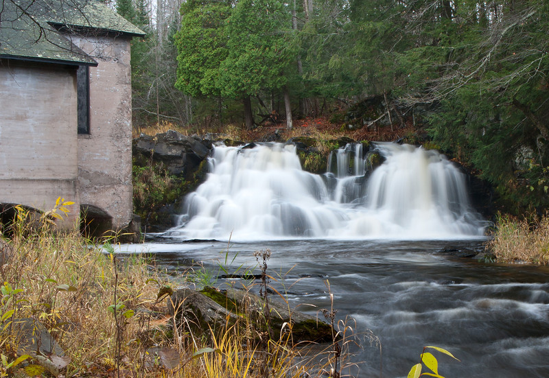 This long abandoned powerhouse located near the town of L'Anse Michigan gives these waterfalls its name.