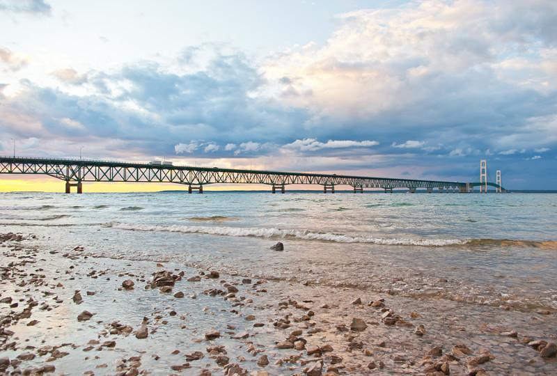 An approaching storm highlights the Mackinac Bridge, third longest suspension bridge in the world.