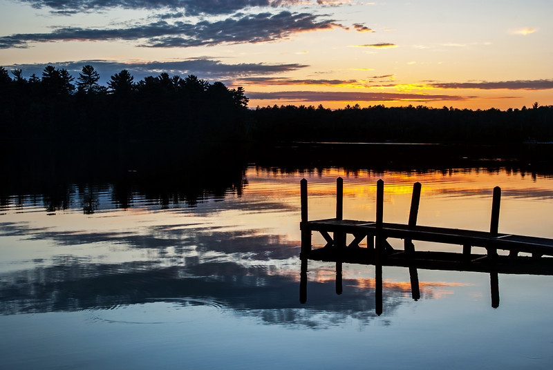 Warm evening sunset at Little Lake in the Escanaba  River State Forest,Michigan.